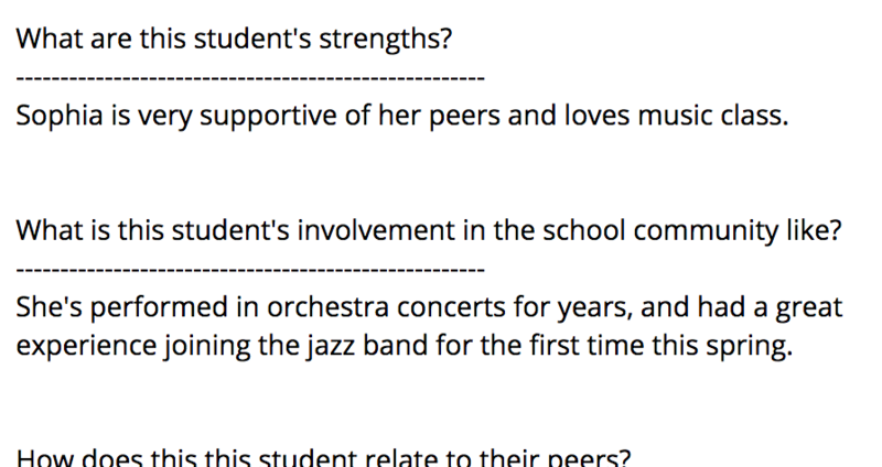 What are this student's strengths? Below are various questions about the student.