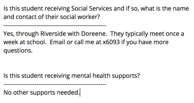 Is this student receiving Social Services and if so, what is the name and contact of their social worker? Followed with an example response and other questions related to health.