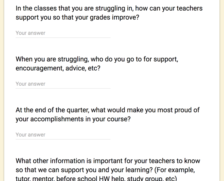 "Google form NGE/10GE/NEST Student Meeting continuation, this form has questions like ""When you are struggling, who do you go to for support, encouragement, advice, etc?"""